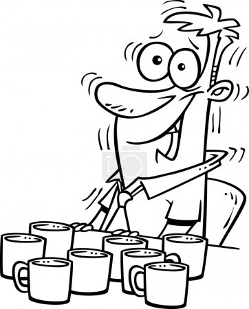 Black and white line art illustration of a cartoon...