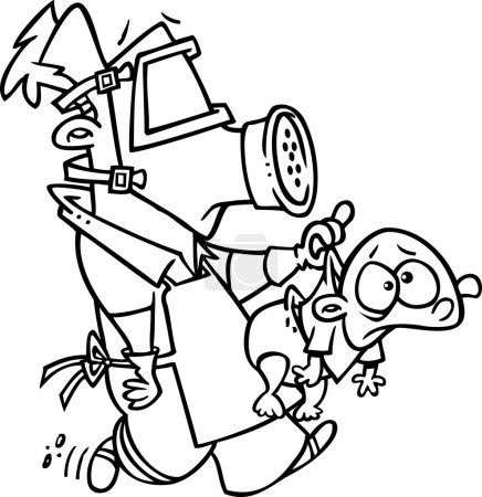 Illustration for Black and white line art illustration of a cartoon man wearing a gas mask and carrying a baby - Royalty Free Image