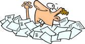 Cartoon Man Drowning in Paperwork