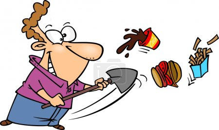 Cartoon Man Quitting Fast Food