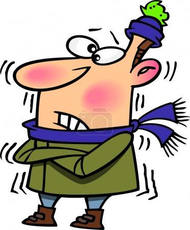 Illustration pour Dessin animé Homme frissonnant dans le froid - image libre de droit