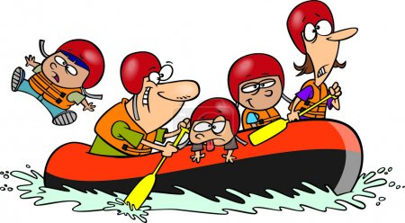 Cartoon Family Whitewater Rafting