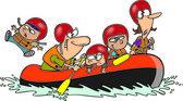 Cartoon Family Whitewater Rafting
