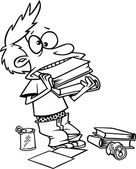 Cartoon Boy Cramming for a Test