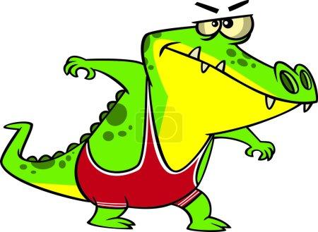Cartoon Alligator Wrestler