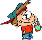 Cartoon Boy Drinking Soda