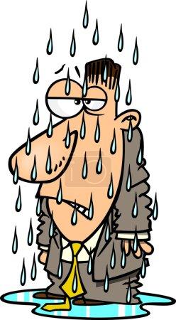 Cartoon Man Getting Soaked in the Rain
