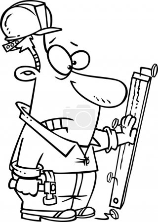 Illustration of a carpenter nailing his hand to a board black and white outline, on a white background.
