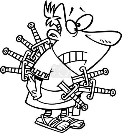 Illustration pour Illustration d'un César trahi tracé poignardé avec des épées sur les côtés de la marche, sur un fond blanc . - image libre de droit