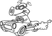 Illustration of a pig racing a hot rod black and white outline on a white background