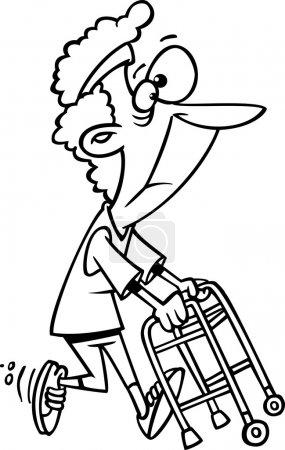 Vektor einer Cartoon-Oma, die mit ihrem Rollator trainiert