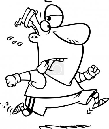 Outlined Tired Man Jogging