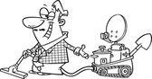 Cartoon Male Inventor Introducing Hi