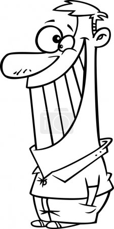 Vector of a Cartoon Black and White Outline Man Giving the Biggest Smile - Outlined Coloring Page