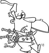 Illustration of a black and white outline cartoon murder mystery server man with an axe in his head and knives in his back on a white background