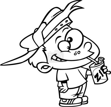 Illustration pour Photo clipart libre de droits d'un garçon buvant du soda, sur fond blanc. La version PNG comprend un fond transparent . - image libre de droit