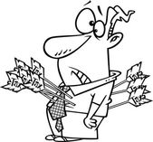 Illustration of an outlined man shot with tax arrows on a white background