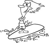 Illustration of an outlined happy surfer girl riding a wave on a white background