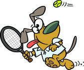 Illustration of a dog swinging a tennis racket on a white background