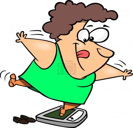 Illustration of a fat woman trying to trick the scale while weighing herself, on a white background.
