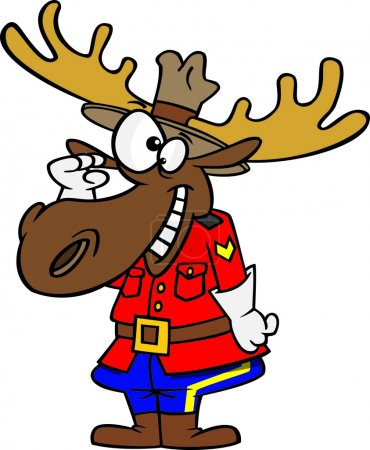 Illustration of a mountie moose saluting, on a white background.