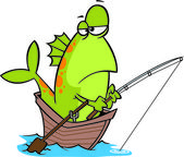 Illustration of a fish fishing from a boat on a white background