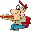 Clipart Sports Fan Man Eating A Hot Dog During A G...