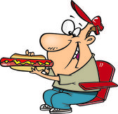 Clipart Sports Fan Man Eating A Hot Dog During A Game