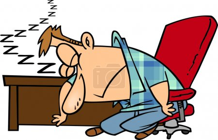 Clipart Exhausted Man Dozing At His Desk