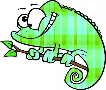 Clipart Happy Cartoon Green And Blue Plaid Chameleon Lizard