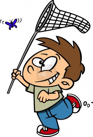 Clipart Outlined Cartoon Boy Chasing A Butterlfy With A Net