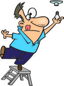 Clipart Man Standing On The Top Of A Ladder And Installing A Light Bulb