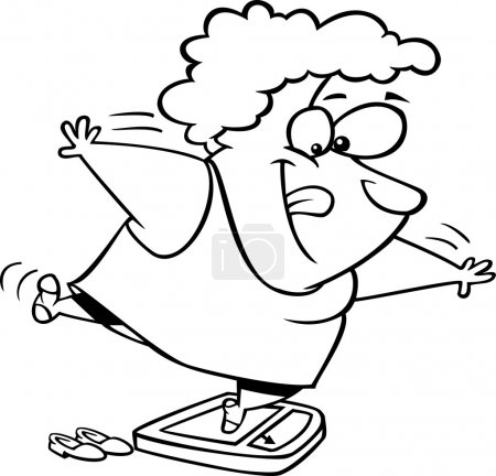 Vector of a Cartoon Fat Woman Trying to Trick the Scale While Weighing Herself - Outlined Coloring Page