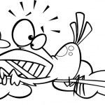 Vector of a Cartoon Bird Scared of Heights Hugging...