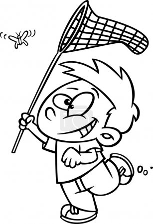 Cartoon Boy with Butterfly Net