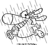 Vector of a Cartoon Happy Dog Running in the Rain During Spring Showers - Outlined Coloring Page