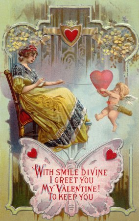 A vintage Valentines Day card with a woman pulling in a heart wi