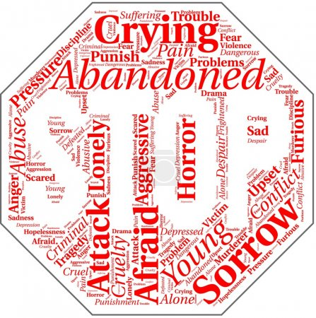 Word cloud in stop sign shape with violence terms