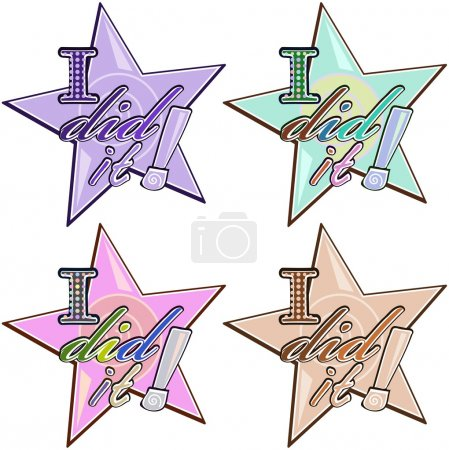 """Vector stickers in star shape with words """"I did it"""""""