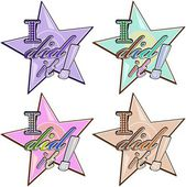 Vector stickers in star shape with words
