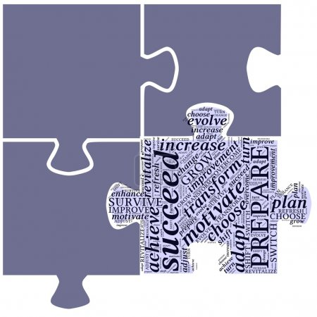Word cloud in puzzle shape with self development t...