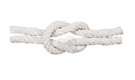 Rope with knot close isolated on white background