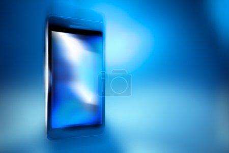 Black smart phone on blue defocus background, concept, template