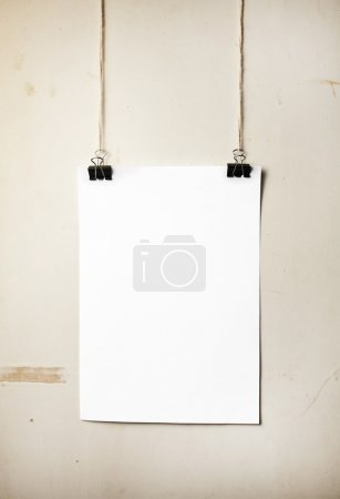 Blank white poster on a rope