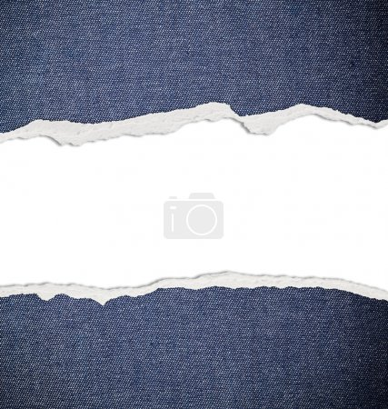 Ripped paper with free space for text, jeans texture