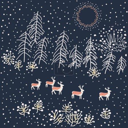 Illustration for Winter scene - Illustration, vector - Royalty Free Image