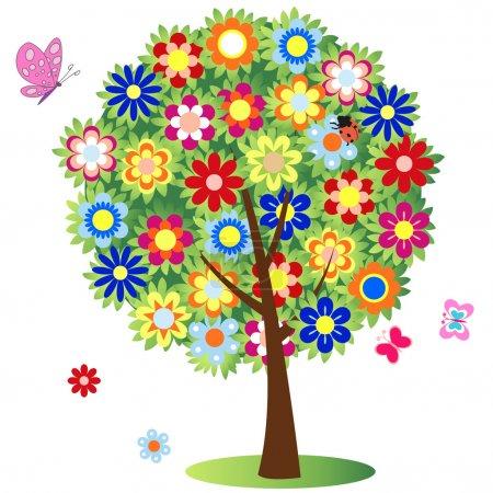 Illustration pour Arbre à fleurs - illustration, vecteur - image libre de droit