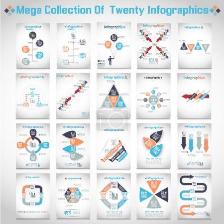 Illustration pour Mega collections de dix options de style origami moderne entreprise steb bannière 3 - image libre de droit