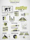 RETRO INFOGRAPHIC DEMOGRAPHIC WORLD MAP ELEMENTS YELLOW