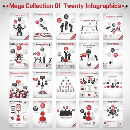 Illustration for MEGA COLLECTIONS OF TEN MODERN ORIGAMI BUSINESS ICON MAN STYLE OPTIONS BANNER 3 RED - Royalty Free Image